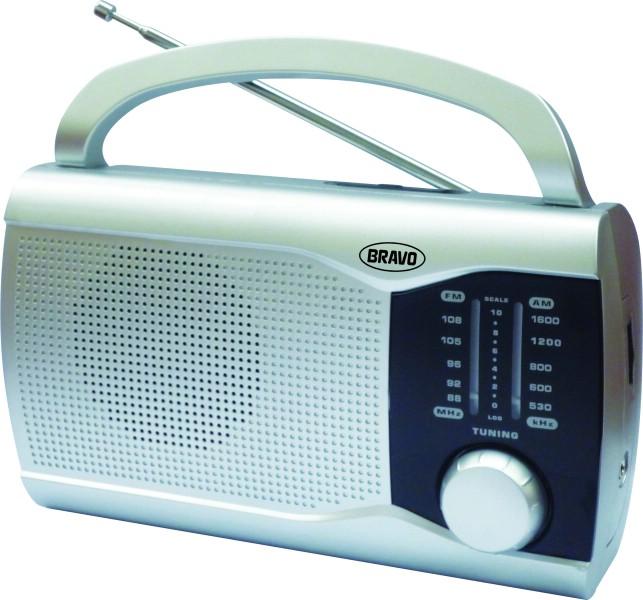 Rádio přenosné Bravo STŘÍBRNÉ B-6009
