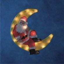 Vánoční dekorativní osvětlení - Okenní dekorace měsíc žlutý s mikulášem 22860000