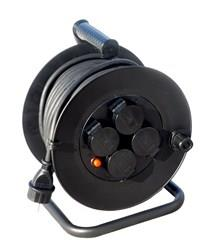 Kabel prodlužovací na bubnu Solight, venkovní, 4 zásuvky, černý, 50m PB34