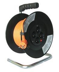Kabel prodlužovací na bubnu Solight, 4 zásuvky, oranžový kabel, černý buben, 20m PB09