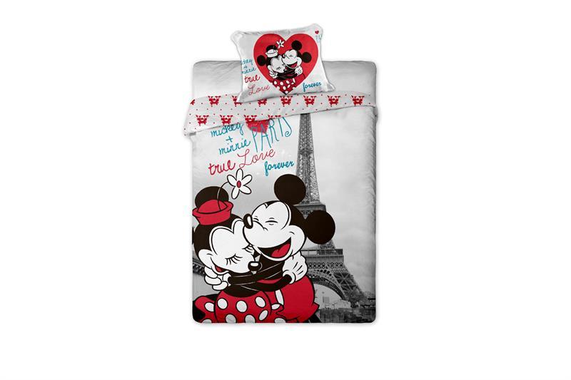 Bavlněné povlečení Mickey a Minnie v Paříži 140x200 cm, 70x90 cm, 100% bavlna