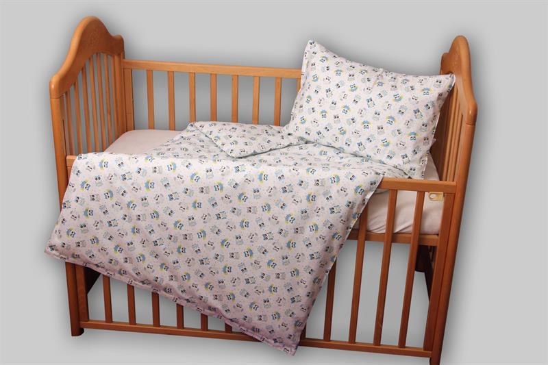 Bavlněné povlečení do dětské postýlky se sovičkami, 90x135 cm a 40x60 cm, 100% bavlna