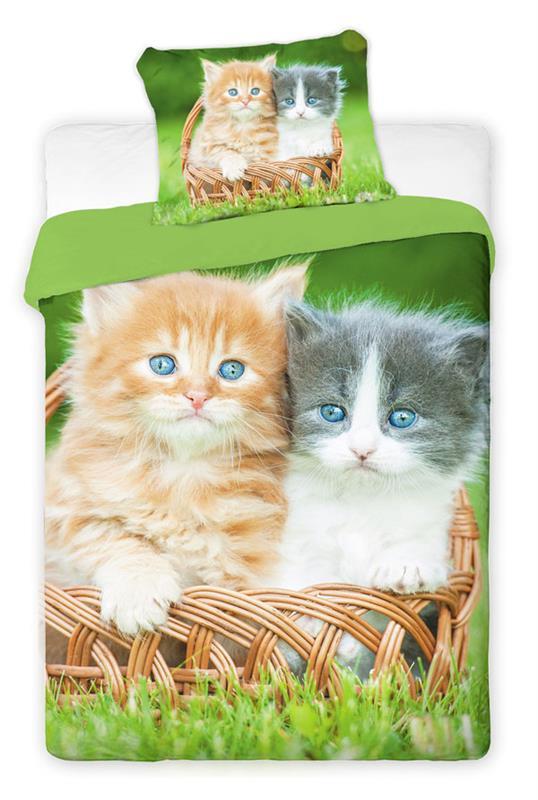 Bavlněné povlečení s fototiskem - Koťata, 140x200 cm, 70x90 cm, 100% bavlna