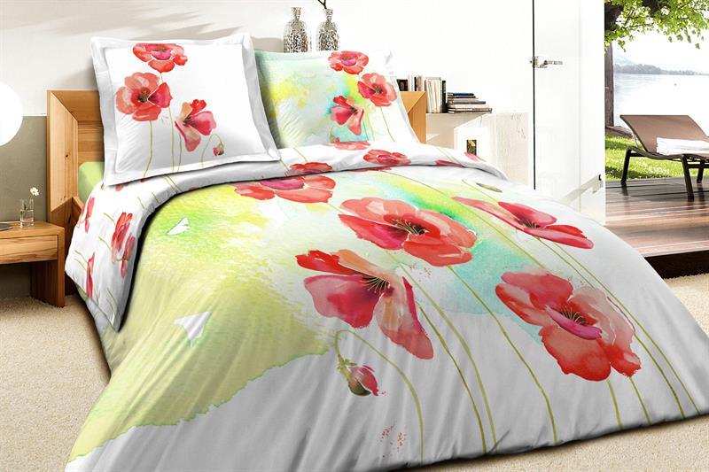 Luxusní bavlněné povlečení Vlčí máky 140x200 cm, 70x90 cm, 100% bavlna