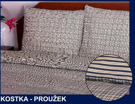 Bavlněné povlečení Kostka-Proužek 140x200 cm, 70x90 cm, 100% bavlna