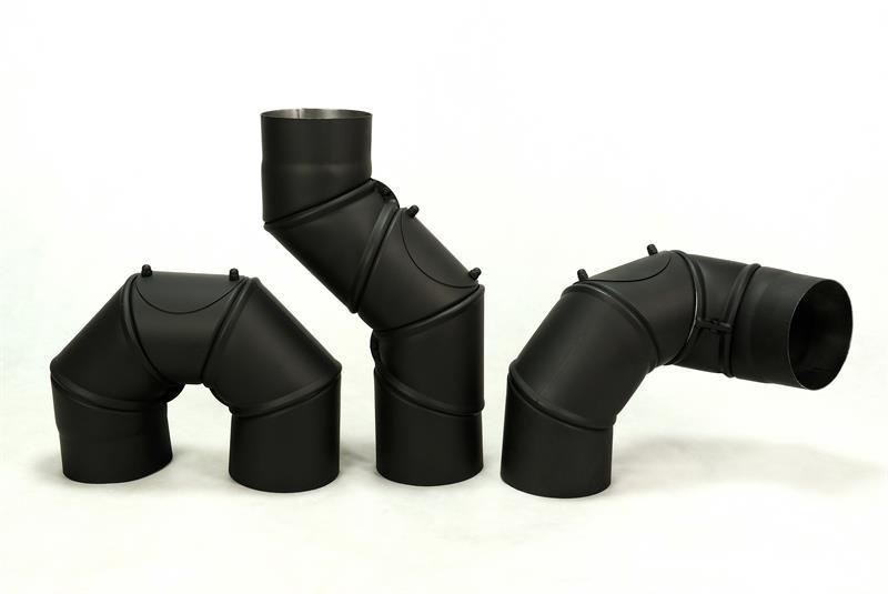 KOUŘOVODY-Koleno kouřové 150mm,stavitelné 0-180°,5 segmentů, čistící