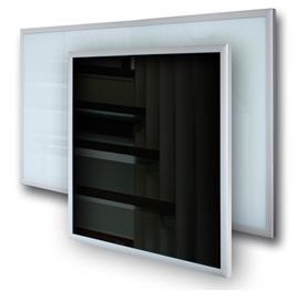 skleněný infrapanel s hliníkovým rámečkem IT-AG 300W, čtvercový tvar, rozměr 600 x 600 x 50 mm, hmotnost 7kg